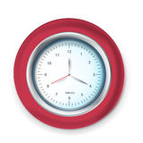 Red wall clock  on white Stock Photography