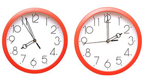 Red wall clocks Stock Images