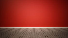 Red wall and dark wood floor Stock Photography