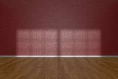 Red wall of empty room with parquet floor Royalty Free Stock Photo