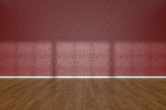 Red wall of empty room with parquet floor Stock Images