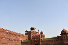 Red Wall. Evening at the Red Fort in Delhi, India Royalty Free Stock Photos
