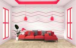 Red wall modern design with sofa sideboard on wood floor interior. 3d rendering. Mock up red wall modern design with sofa sideboard on wood floor interior. 3d stock illustration