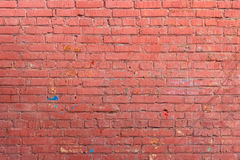 Red wall of painted brick. The texture of the red walls of painted brick Royalty Free Stock Photo