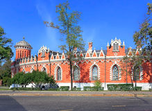 Red wall of Petrovsky Travelling Palace in Moscow Stock Photos