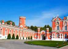 Red wall of Petrovsky Travelling Palace in Moscow Royalty Free Stock Photography