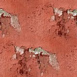 Red wall plaster cracks paint seamless background Stock Image