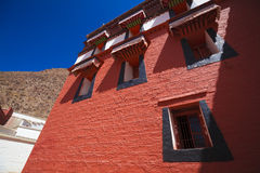 Red wall of  temple in gansu china Stock Photos