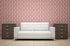 Red wall and white sofa Royalty Free Stock Photo