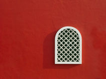 Red Wall with Window Stock Photography