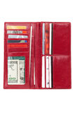 Red Wallet. With money and Credit Card Stock Images