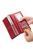 Red Wallet. With money and Credit Card Royalty Free Stock Image