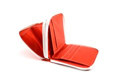 Red wallet. Open red wallet isolated on white Royalty Free Stock Photos