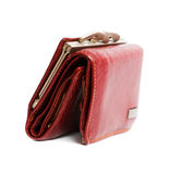 Red wallet. Beautiful women's Red wallet isolated Stock Image
