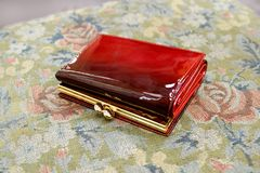 Red Wallet. Red Varnish Wallet Royalty Free Stock Photography