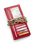 Red Wallet and chain. Red Wallet with money and Credit Card Stock Photography