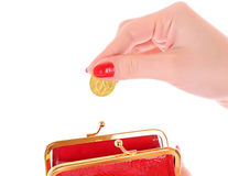 Red wallet and coin Royalty Free Stock Photos