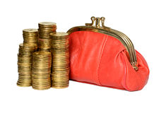 Red wallet and coins. Stock Photos