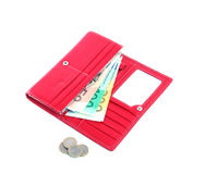 Red Wallet with Euros. Red Wallet with card slots, paper euros and coins Royalty Free Stock Photos