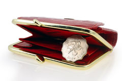 Red wallet and hong kong dollar. Red wallet with hong kong coin inside isolated on white royalty free stock photo