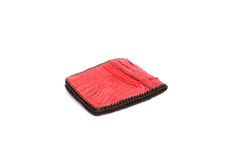 Red Wallet of Leather crocodile skin Royalty Free Stock Images