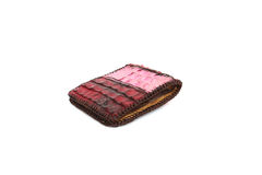 Red Wallet of Leather crocodile skin Stock Image