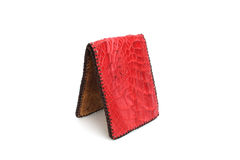 Red Wallet of Leather crocodile skin Royalty Free Stock Photography