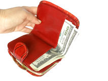 red wallet with money Royalty Free Stock Photos