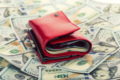 Red wallet with money Stock Images