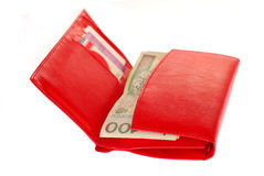 Red wallet with polish money isolated on white Royalty Free Stock Photo