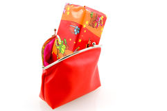 Red wallet with Sinterklaas present. Isolated on white background royalty free stock images