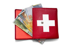 Red wallet swiss franc Stock Photography