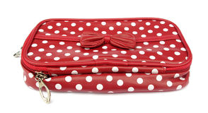 Red wallet with white spots Royalty Free Stock Photos