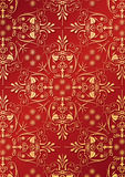 Red wallpaper with golden relief. Illustration of an ancient ornament wallpaper or textile texture with golden arabesque relief Royalty Free Stock Photography