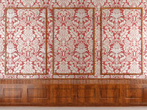 Red wallpaper and wood molding Stock Image