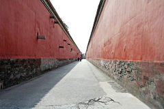 Red walls. And path of the Forbidden City Royalty Free Stock Image