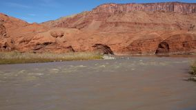 Red walls on Colorado River stock video