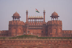 The red walls and towers of the Lal Quila main gate, Red Fort in Stock Photo