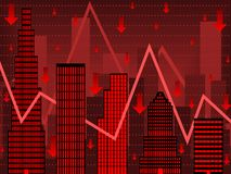 Red wallstreet finance chart. Bar chart composed of stylized buildings implying financial bust Royalty Free Stock Photos