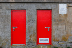 Red warehouse doors Royalty Free Stock Photos