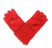 Red warm gloves. Royalty Free Stock Images