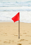 Red warning flag Stock Photo
