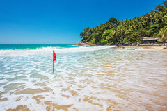 Red warning flag at beach Royalty Free Stock Images
