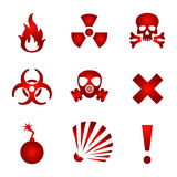 Red warning icons Stock Images