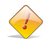 Red Warning Sign. On Yellow Light Sign-Board surrounded by white background and shadowed Stock Illustration