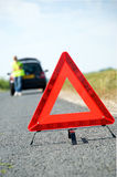 Red Warning Triangle. With a broken down car stock images