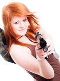 Red warrior girl holding gun over white Stock Photo