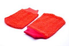 Red washcloth. On white background Royalty Free Stock Image