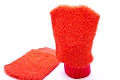Red washcloth. On white background Royalty Free Stock Photo