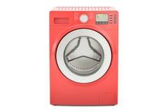 Red washing machine, 3D rendering Stock Photos